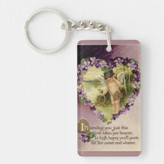 Vintage Valentine Cherub and Violets Double-Sided Rectangular Acrylic Keychain
