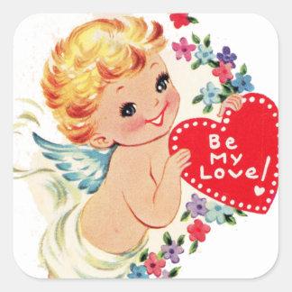 Vintage Valentine Cherub Angel Be My Love Square Sticker