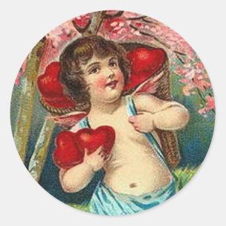 Vintage Valentine - Cherub & Basket of Red Hearts Round Stickers