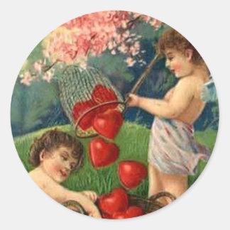 Vintage Valentine - Cherubs Catching Hearts Round Sticker