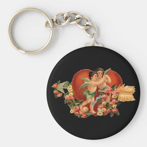 Vintage Valentine Cherubs Key Chain