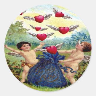 Vintage Valentine Cherubs Round Sticker