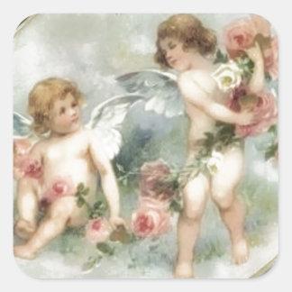 Vintage Valentine Cherubs Square Sticker