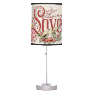 Vintage Valentine Collage Lamp