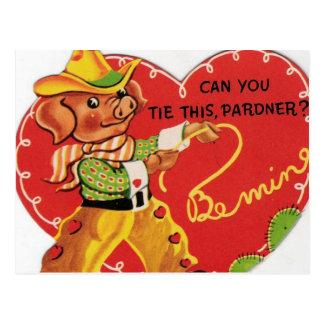 Vintage Valentine Cowboy Hog Postcard