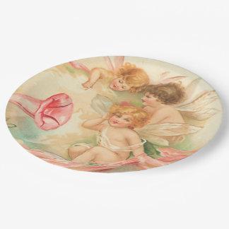 Vintage valentine cupid angel 1 paper plate