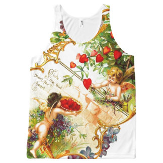 Vintage Valentine Cupids All Over Print Tank Top