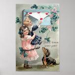 Vintage Valentine Dachshund Poster