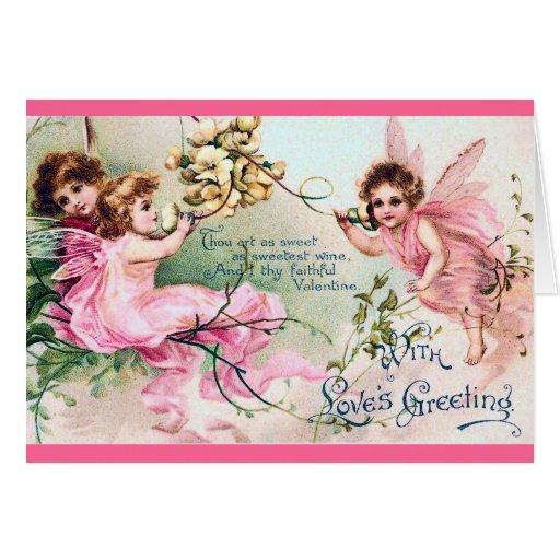 Vintage Valentine Fairies Card