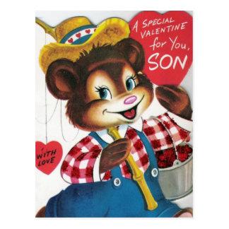 Vintage Valentine For Son Postcard