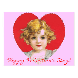 Vintage Valentine Girl in Heart Postcard