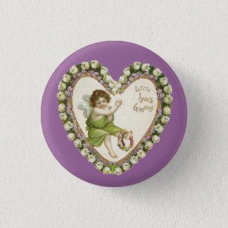 Vintage Valentine Heart 1 Inch Round Button