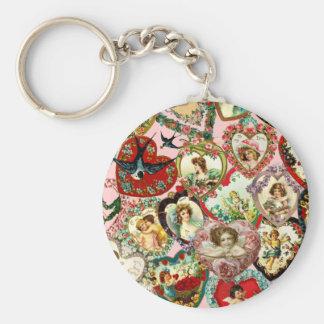 Vintage Valentine Hearts Basic Round Button Keychain