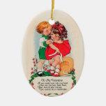 Vintage Valentine Kiss Ceramic Oval Ornament