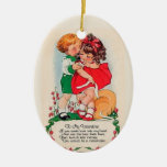 Vintage Valentine Kiss Double-Sided Oval Ceramic Christmas Ornament