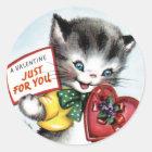 Vintage Valentine Kitten Stickers