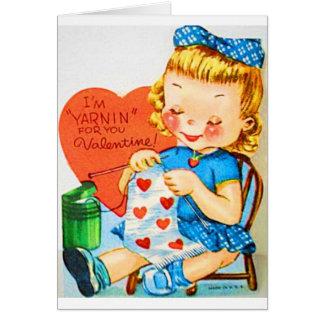 Vintage Valentine Knitting Card