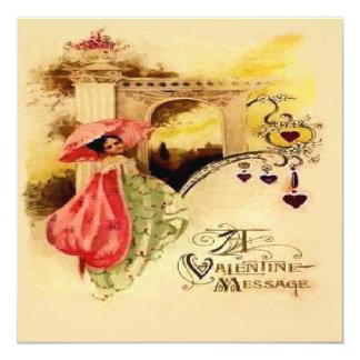 "Vintage Valentine Message Pink Parasol 5.25"" Square Invitation Card"