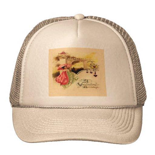Vintage Valentine Message Pink Parasol Hats