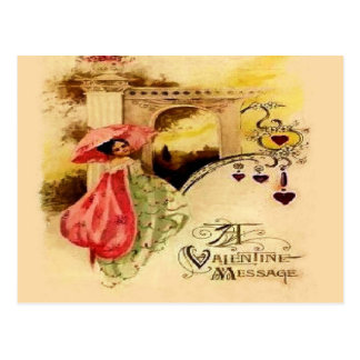 Vintage Valentine Message Pink Parasol Postcard