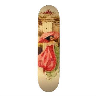 Vintage Valentine Message Pink Parasol Custom Skateboard
