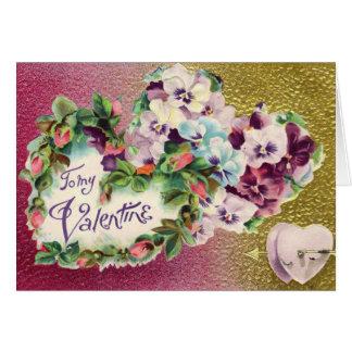 Vintage Valentine Pansy Flower Card