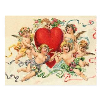 Vintage Valentine Playful Cherubs Postcard