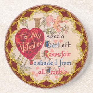 Vintage Valentine Poem Coaster