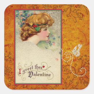 Vintage Valentine Schmucker Girl Gold Butterfly Square Sticker