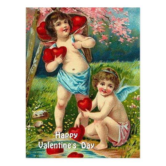 Vintage Valentine - Two Cherubs with Hearts Postcard