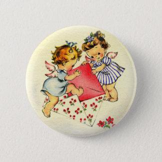 Vintage Valentine ~ Two Cupids Sending Their Love 2 Inch Round Button