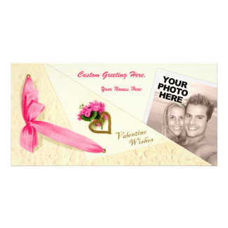 Vintage Valentine Wishes - Folded Photo Template Personalized Photo Card