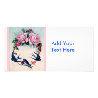 Vintage Valentine with Birds and Roses Photo Card