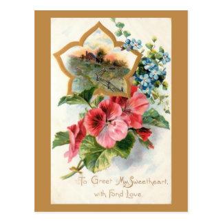 Vintage Valentine with Geraniums Postcard