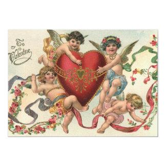 Vintage Valentines, Cherubs with Heart Invitation