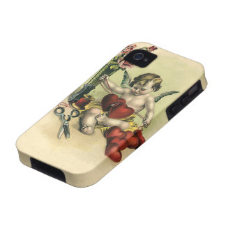 Vintage Valentine's Day Angel, Cupid Sewing Hearts Vibe iPhone 4 Cover