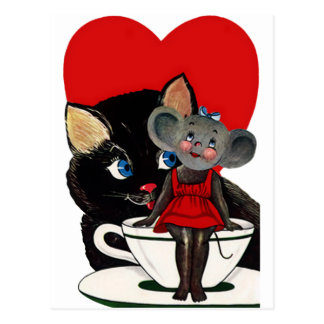 Vintage Valentine's Day, Cat Mouse Tea Cup Heart Postcard