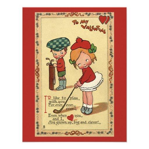 Vintage Valentine's Day, Children Sports Golf Invitation