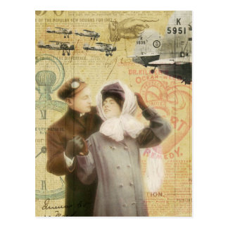 Vintage Valentine's Day Couple Love Planes Collage Postcard