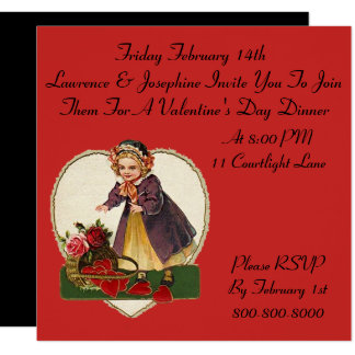 Vintage Valentine's Day Dinner Party Invitations