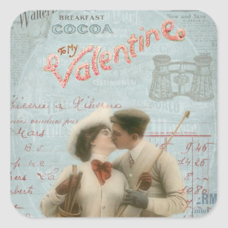 Vintage Valentine's Day Kissing Couple Collage Square Sticker