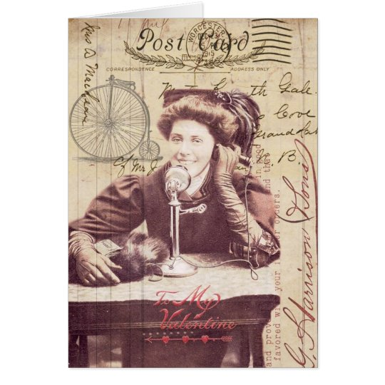 Vintage Valentine's Day Lady Antique Style Collage Card