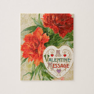 Vintage Valentine's Day Message, Carnation Flowers Jigsaw Puzzle