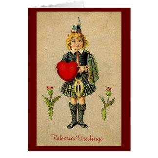 Vintage valentines day Scottish boy & heart Card