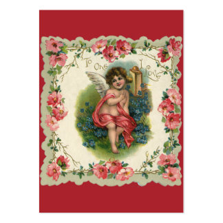 Vintage Valentine's Day, Victorian Angel on Phone Pack Of Chubby Business Cards