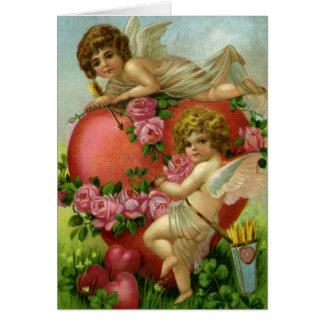 Vintage Valentines Day Victorian Angels Heart Rose Greeting Card