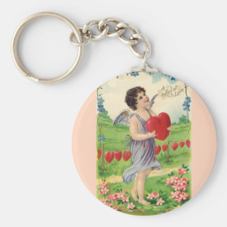 Vintage Valentines Day, Victorian Cupid with Heart Key Chains