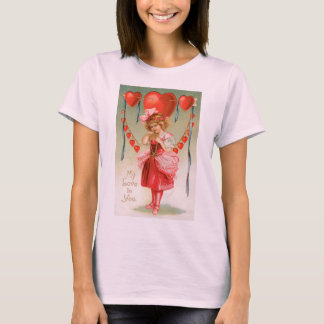 Vintage Valentines Day, Victorian Girl with Hearts T-Shirt