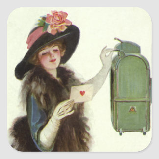 Vintage Valentine's Day Victorian Lady Mail Letter Square Sticker