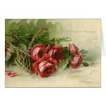 Vintage Valentine's Day, Victorian Red Roses Greeting Card